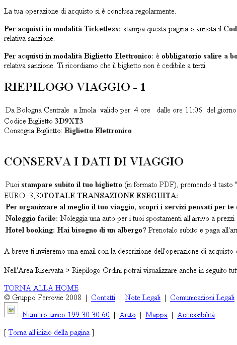 Pagina post pagamento - Trenitalia