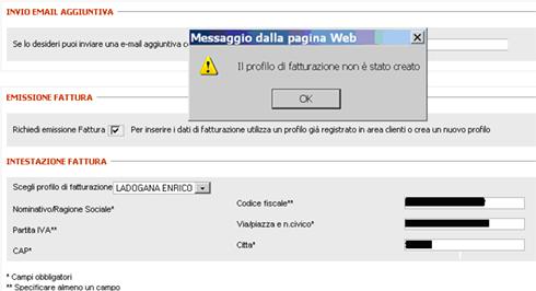 Impossibile ottenere la fattura online - Trenitalia