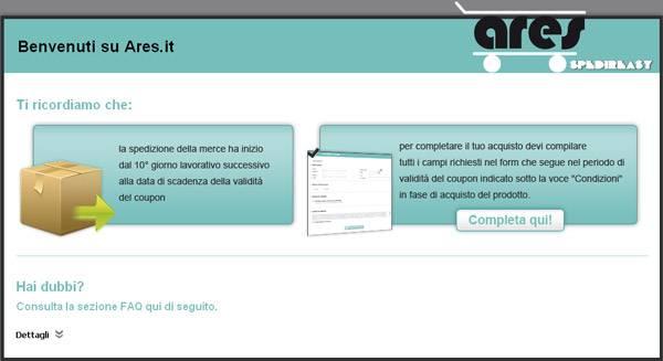 L'home page di Groupares permette di completare l'acquisto di un prodotto Groupalia; non presenta, tuttavia, alcun tratto distintivo in comune con quest'ultiumo