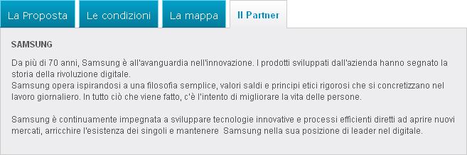 La sezione partner della scheda prodotto di Groupalia mostra il produttore del bene e non il reale fornitore