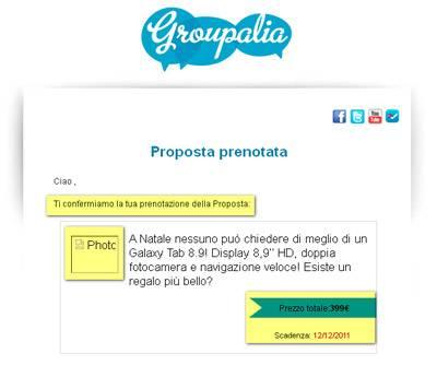 L'immagine mostra un frammento dell'e-mail che attesta la prenotazione del coupon di acquisto