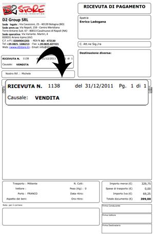 La prima ricevuta inviata da Groupalia, da loro definita fattura, ma che non lo è in quanto non contiene i miei dati contabili
