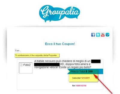 L'immagine mostra un frammento dell'e-mail che permette di utilizzare il coupon, da notare il prezzo del prodotto espresso in dollari