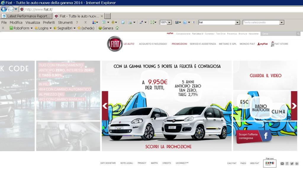 L'home page di FIAT non contiene alcuna dichiarazione di intenti