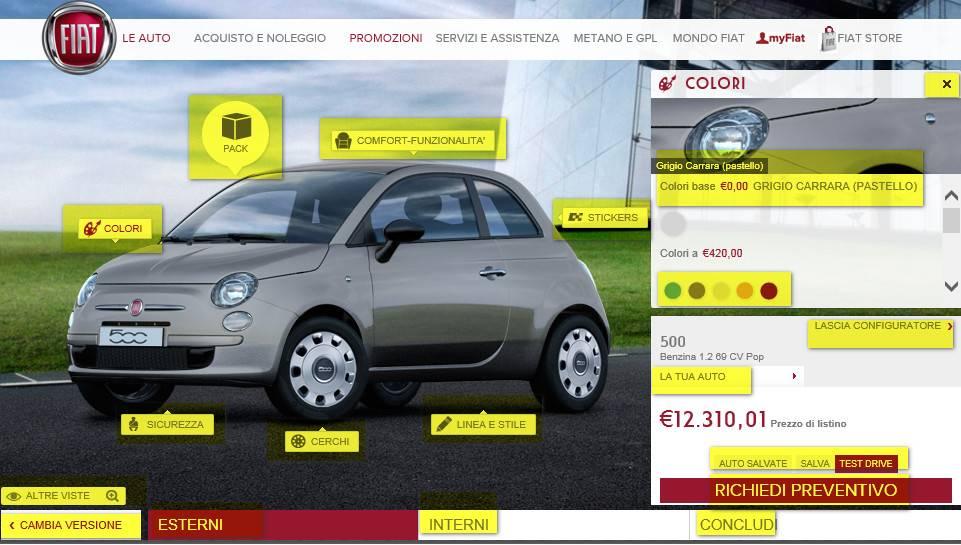 Analisi pagina configuratore auto FIAT